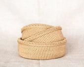 Crochet baskets. Storage boxes organizer. Nesting bowls. Beige, gold sand. Eco-Friendly