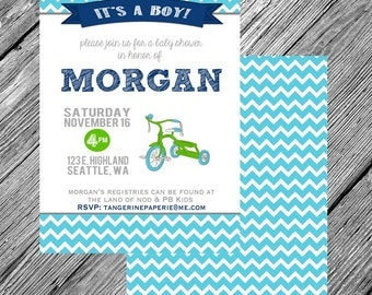 Tricycle Baby Shower Printable Invitation