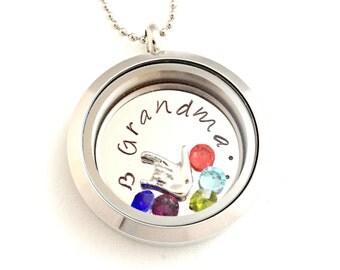 Personalized Grandmother Locket - Hand Stamped Grandma Granny Mimi Nana Love Necklace - Jewelry - Floating Charm, Custom Disc & Birthstones