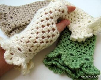 Crochet PATTERN Fingerless Gloves-DIY Marvelous Crochet Gloves Ruffle Around Wrist-Instant Download PDF Pattern No.99 by Lyubava Crochet