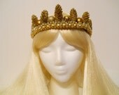 Gold Crown, for a Princess Queen Golden King, Mardi Gras, Game of Thrones Headpiece Costume, Reign, Royal, Burning Man, Winter, Christmas
