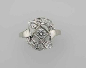 14 Karat White Gold Diamond Ring from the 1950's