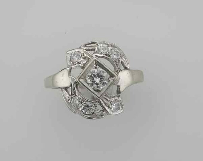 14 Karat White Gold Diamond Ring from the 1950's