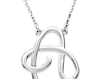 Script Initial Necklace, Sterling Silver