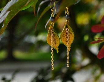 Spring Rain - Faux Leaf Earrings