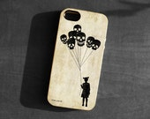 IPhone 4/4s/5 Case,girl skull balloons Soft TPU Gel Silicone Cover iPhone gothic silhouette art black scary funny