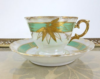Chiyoda Hin Tea Cup & Saucer / Hand Painted Lustreware with Gold Foil / Bamboo / Japan