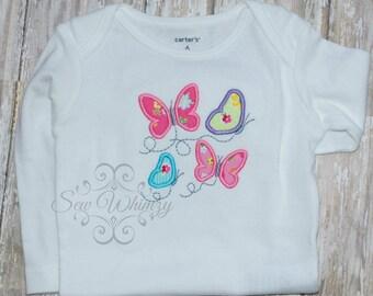 Butterfly Applique shirt- Girl Butterfly shirt- Girl Applique Shirt- Summer Shirt- Embroidered Butterfly shirt- Monogram shirt- Girl