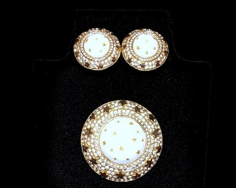 NETTIE ROSENSTEIN Brooch and Earring Demi Parure Set