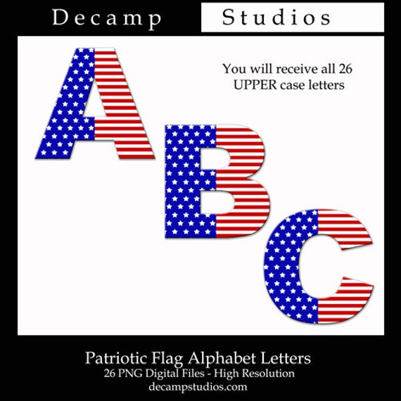 May The Fourth Be With You Lettering: AMERICAN FLAG ALPHABET Clipart Letter 4th Of July Digital
