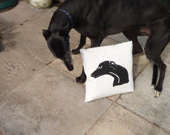 Black Greyhound Cushion - hand pulled screen print with a black butcher stripe reverse
