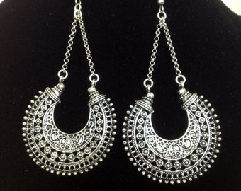 Silver gypsy chandelier dangle earrings