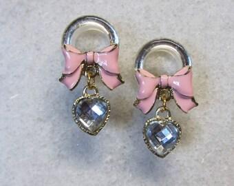 Pink Bowknot Dangle Plugs Handmade Flesh Tunnel Wedding Gauges Rhinestone Ear Expander Jelly Color Crystals