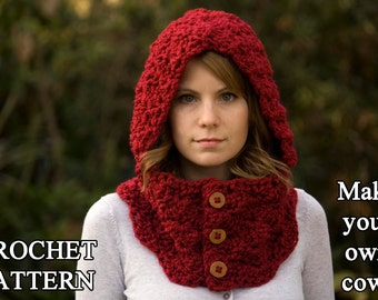 CROCHET PATTERN Hooded Cowl, Button Neck Warmer, Crochet Hoodie Instant Download