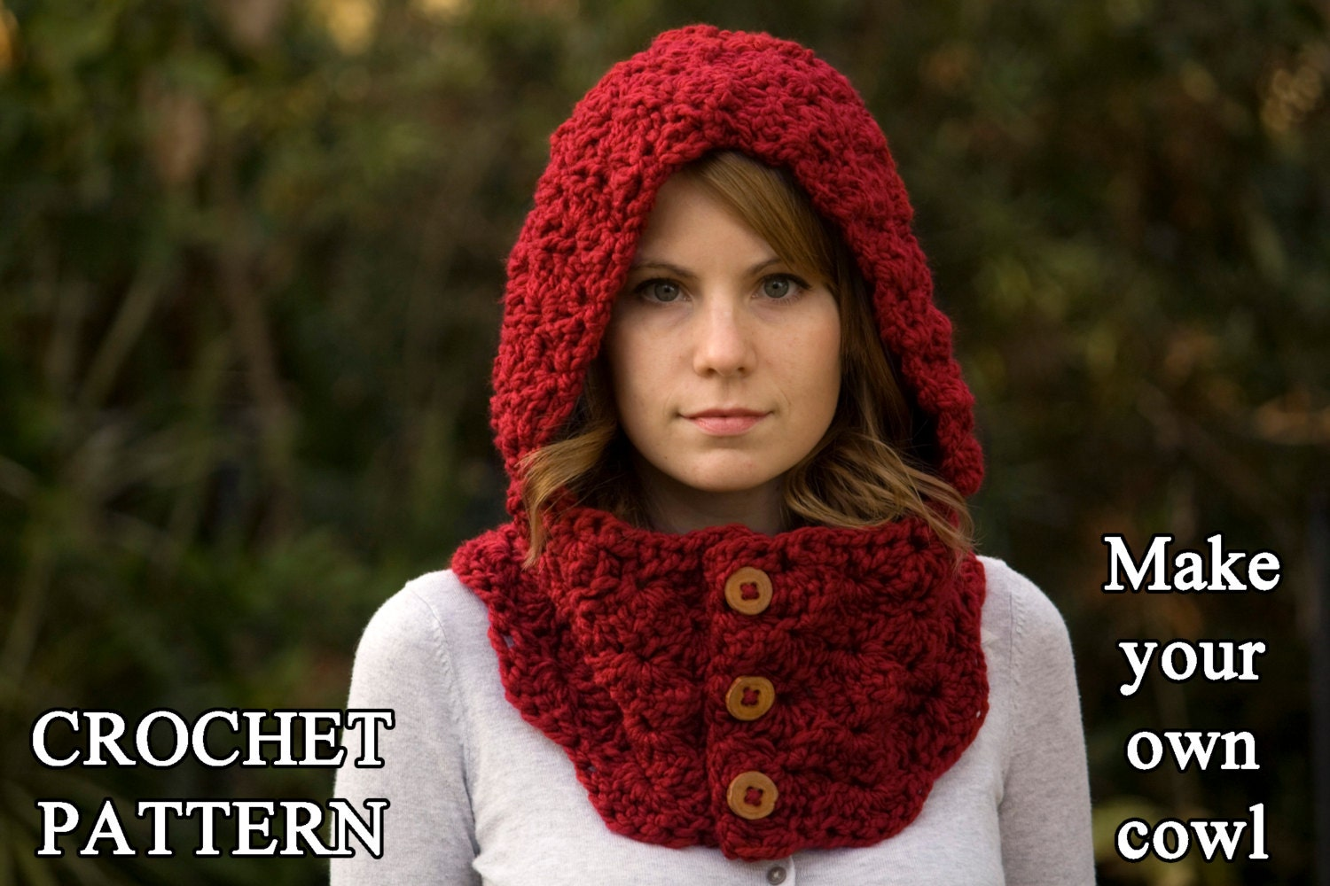 CROCHET PATTERN Hooded Cowl Button Neck Warmer Crochet