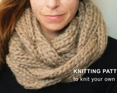 KNITTING PATTERN:  Braided Cable Cowl, DIY knit pattern pdf, infinity scarf, quick chunky