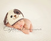 Baby Boy Hat PUPPY LUV Newborn Baby Boy Crochet Doggy Hat Cream Brown Blue Dog Hat Photography Prop
