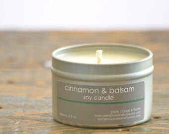 Cinnamon & Balsam Soy Candle Tin 4 oz. - cinnamon candle - balsam candle - fall candle - holiday candle - balsam fir candle - winter candle
