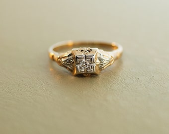 Vintage Engagement Ring - 10k Two Tone Diamond Ring