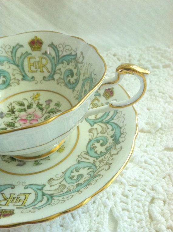 Antique Teacup and Saucer/60th Anniversary of Queen Elizabeth Coronation Commemorated 1953