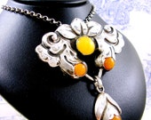Skonvirke Silver Pendant Danish Arts and Crafts Amber by Knud Georg Jensen