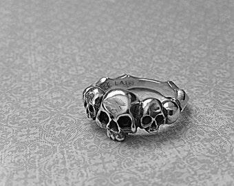 ON SALE Skull Ring Handmade Sterling Silver Classic Three Skull Ring