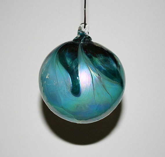 Hand blown glass christmas ornament teal by kevinfultonglass