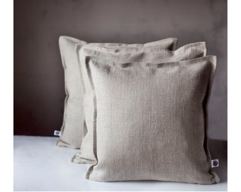 3 Linen pillow covers gray - decorative covers - throw pillows, shams, cushion cases - custom color pillowcases  0025