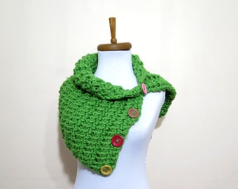 Cowl Neck Warmer / Green / Hand Knit,Colorfull Button neck warmer..Cozy scarves,cozy knit,capelet,for her,gifts,winter accessories,