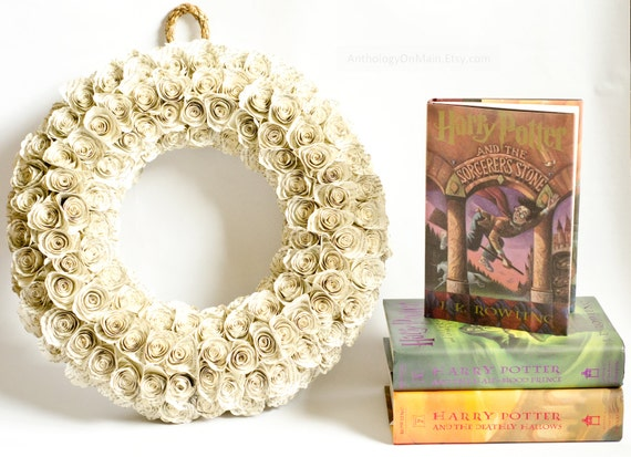 Harry Potter Wreath with Book Page Rosettes - Upcycled Home Decor for the HP Fan - Eco Friendly Green Party Decoration