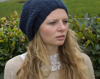slouchy hat , blue green slouchy hat, slouchy beanie, chunky slouchy hat, hipster hat