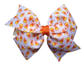 Candy corn hair bow - Halloween bow, candy corn bow