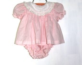 Vintage Baby Girl Pink Polka Dots Romper with Bloomers (3 to 6 Months)
