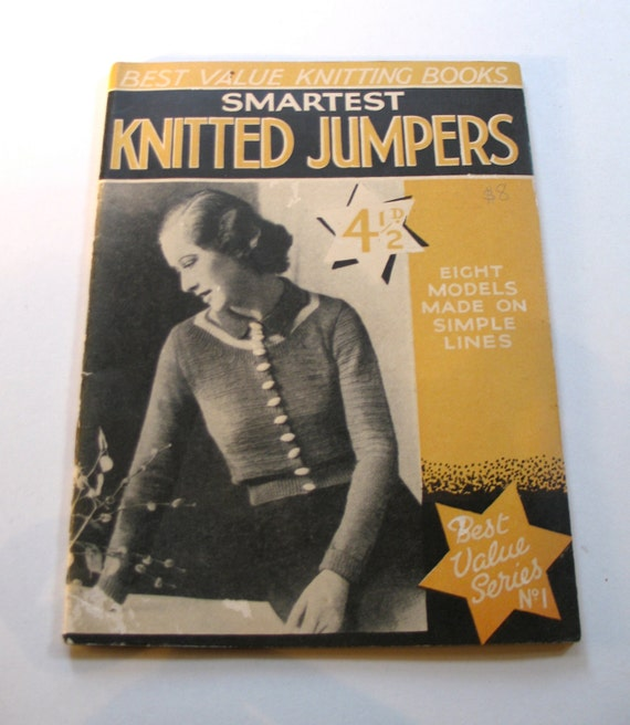 Vintage 1930s 'Smartest Jumpers' Knitting Pattern Book