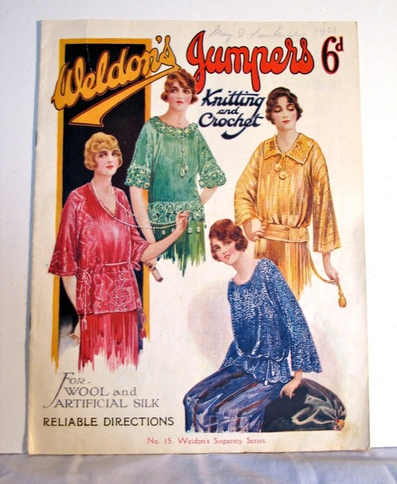Vintage Knitting Patterns 1920s : Vintage 1920s Knitting Pattern Book Weldons