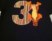 Infant, Toddler or boys birthday Tigger Number T-shirt