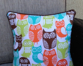 """Owl Pillow in Brown, Lime, Aqua and Orange - """"Owls Everywhere Pillow"""""""