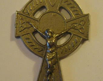 "Beautiful Vintage Large Bronze Colored Celtic Cross Pendant Made in Ireland Measures 4 1/2"" Tall circa 1960s/70s"