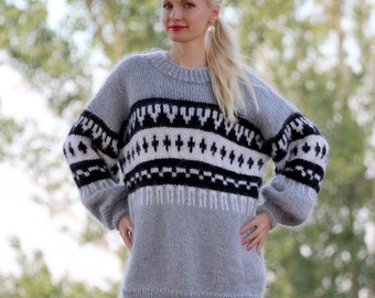 Made to order Nordic hand knitted mohair sweater in gray black and white by SuperTanya