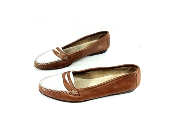 Two Tone Leather Loafers 7 - Italian Leather flats 7 - Womens Leather Moccasins 7