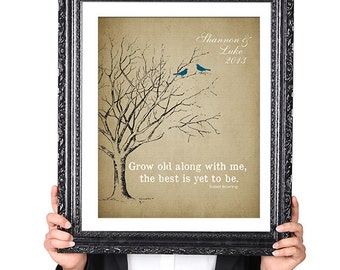 The BEST is yet to be, Gift for Husband Wife, Couples, 1st Anniversary Wedding Gift, Personalized Tree Print, Birds,Vintage Image, 8x10