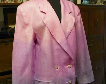 8 04 Ombre  Hand Dyed Cotton  Linen Double Breasted Jacket