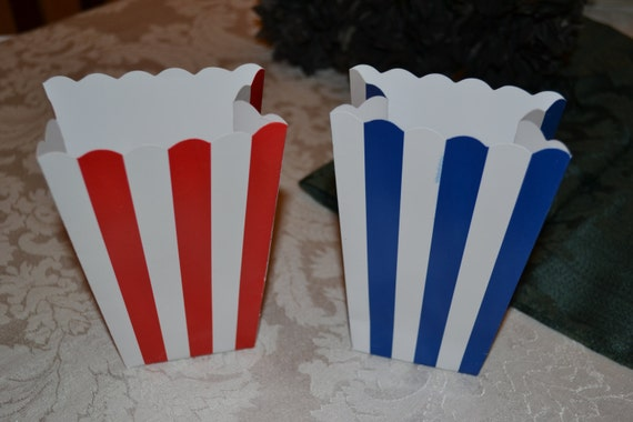 Blue Popcorn Favor Boxes : Striped red and blue popcorn boxes treat