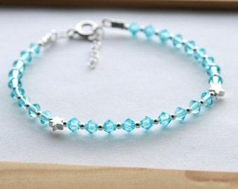 Blue Swarovski Star Bracelet, Aquamarine Bracelet, Swarovski Star Bracelet, Swarovski Star Charm Bracelet, Star Bead Bracelet