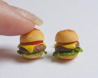 Food Jewelry Cheeseburger Earrings, Miniature Food Jewellery, Handmade Earrings, Mini Food Jewelry, Food Earrings, Fast Food, Burger Earring