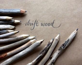 genuine driftwood twig pencils - weathered driftwood pencils - handmade in australia