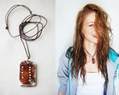 Custom Made Rustic Necklace with Engraved OOAK Pendant - Primitive Statement Necklace - Handcrafted Artisan Jewelry