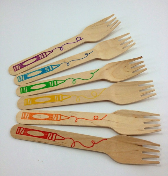 25 Crayon Hand stamped Wooden Forks/Spoons/knives, Custom Colors Available, Wooden Utensils, Wooden Cutlery, Wooden Silverware,  Kid's Party
