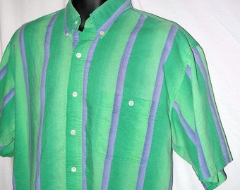 Vintage 80s 90s mens Bugle Boy shirt / 1980s short sleeve button up / 1990s striped ombre / hipster seapunk surfer .. L 16 chest 46