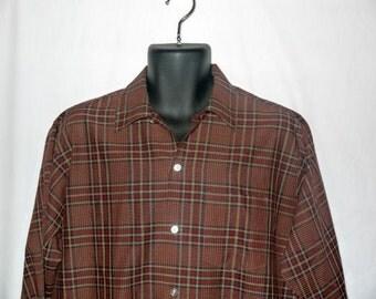 Vintage 60s plaid shirt / mens button up / 1960s mad men / mid century dad / long sleeve .... M L chest 46